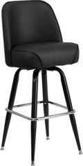 Premium Comfort Swivel Bar Stool Retro Gloss Black Frame Bucket Seat Black Vinyl