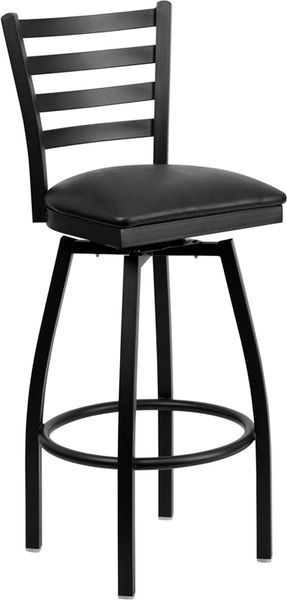 Swivel Metal Ladderback Restaurant Dining Bar Stool Black Frame Finish Wood or Vinyl Padded Seat