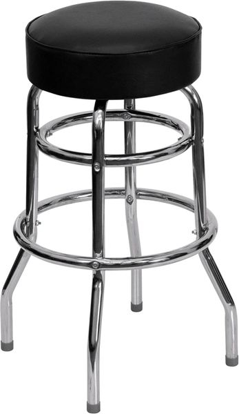 Premium Comfort Swivel Bar Stool Retro Chrome Double Ring Frame Black Vinyl Round Seat