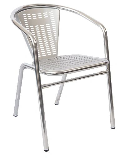 Outdoor Restaurant Cafe Arm Chair Aluminum Sandblasted Finish Stackable