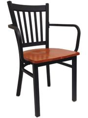 Metal Ladderback Restaurant Dining Chair With Arms Black Frame Finish
