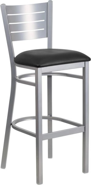 Metal Restaurant Silver Slat Back Bar Stool