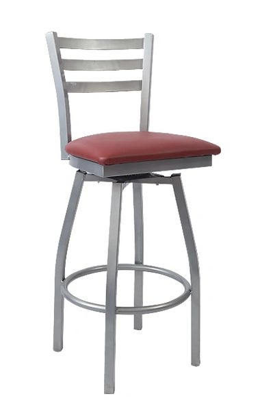 MSBS-GREY-01 Ladderback Swivel Metal Restaurant Cafe Bar Stool Grey Frame