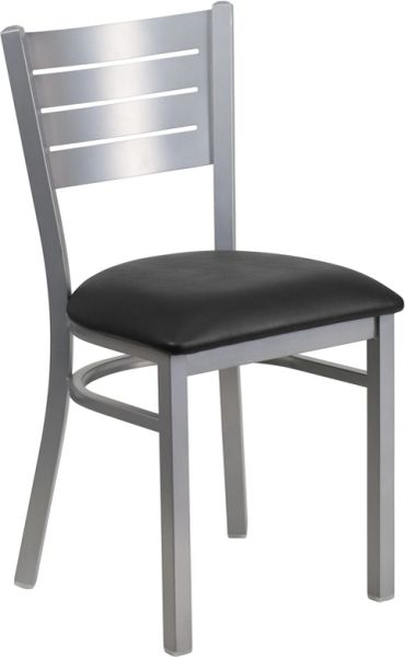 Metal Restaurant Silver Slat Back Dining Side Chair