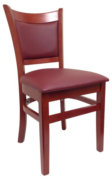 04. Wood Full Back Restaurant Dining Chair Mahogany Finish Burgundy Vinyl Seat and Back