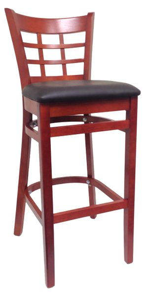 03. Wood Window Pane Back Restaurant Bar Stool Mahogany Finish