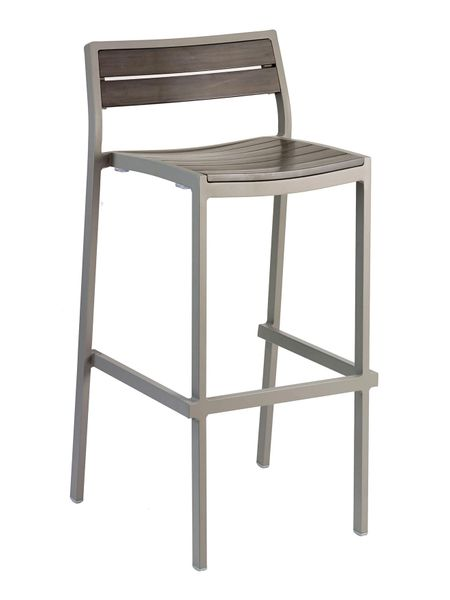 Outdoor Restaurant Cafe Bar Stool Grey Finish Synthetic Grey Teak
