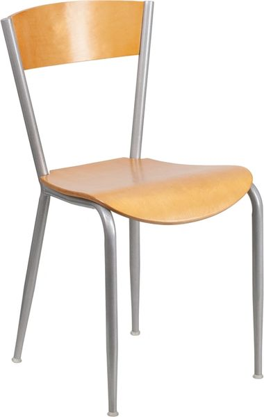 Metal Restaurant Dining Chair Silver Frame Finish Natural Wood Seat and Back