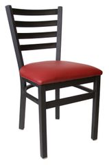 Metal Ladderback Restaurant Dining Chair Black Frame Finish Black Vinyl Seat