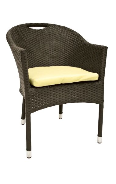 Outdoor Restaurant Cafe Arm Chair Black Finish Synthetic Wicker Stackable