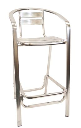 Outdoor Restaurant Cafe Bar Stool Aluminum Finish