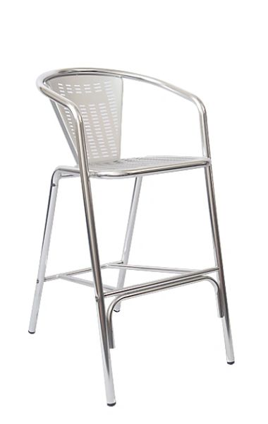 Outdoor Restaurant Cafe Bar Stool Aluminum Finish Laser Back