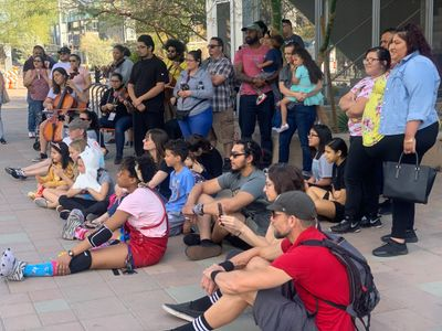 image of Rising Youth Theatre audience at 2020 Light Rail Plays