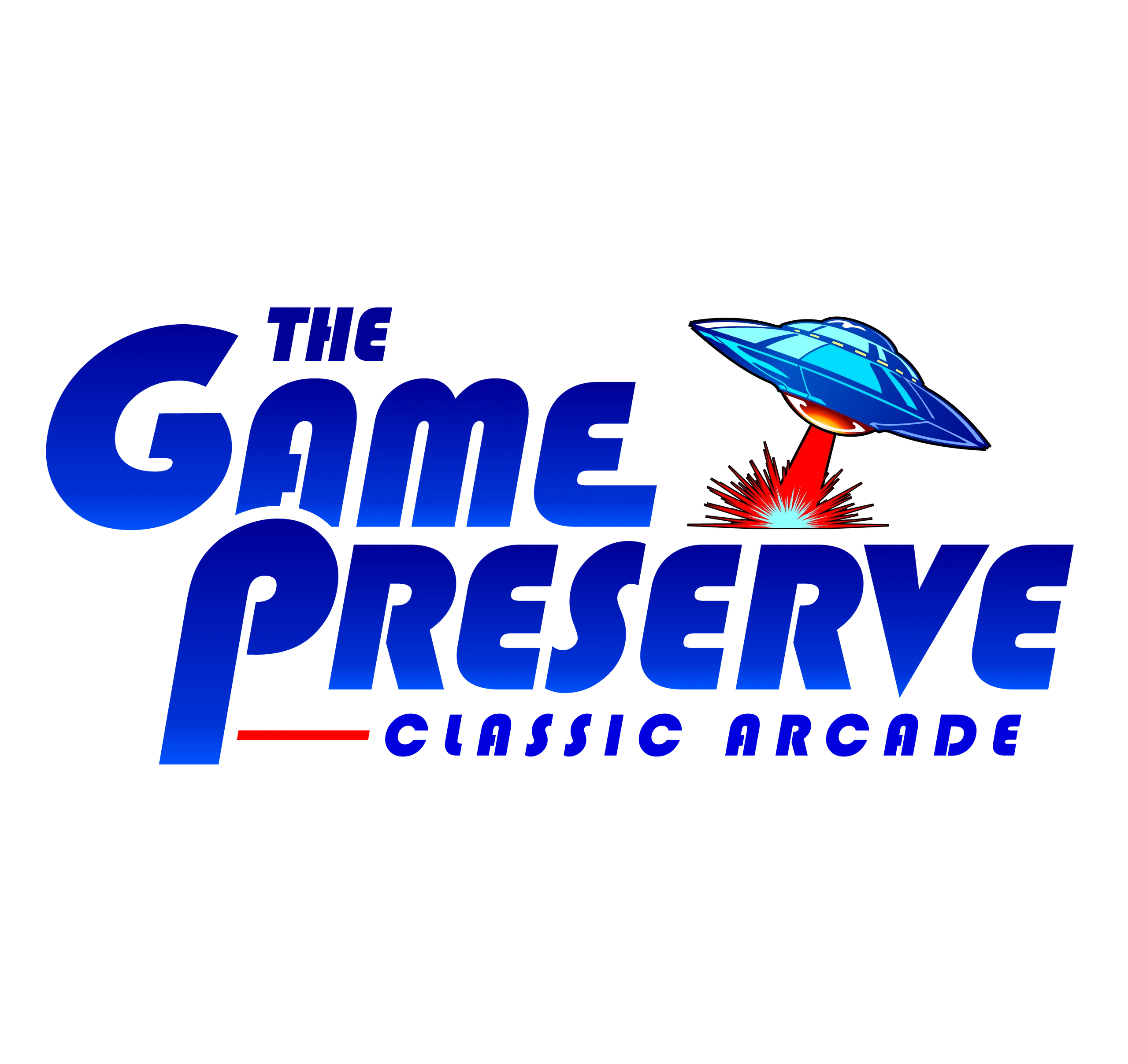 The Game Preserve arcade flying saucer logo