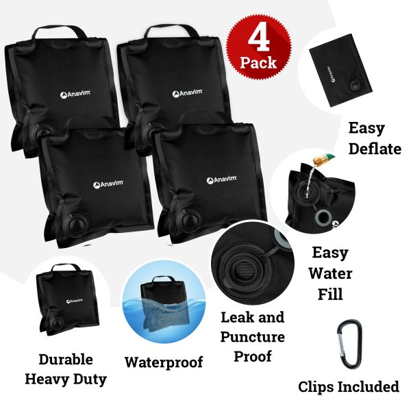Grey Eurmax Saddle Design Water Weight Bag Heavy Duty Water Saddlebag Portable Water Bags Outdoor Weights Photo Video Studio Stand 4-Pack