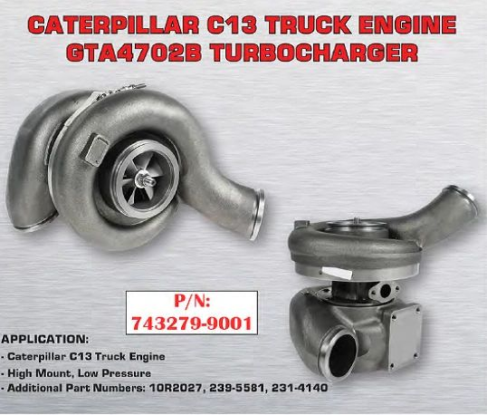 Cat C13 High Mount Low Pressure Replacement Turbocharger 743279-9001