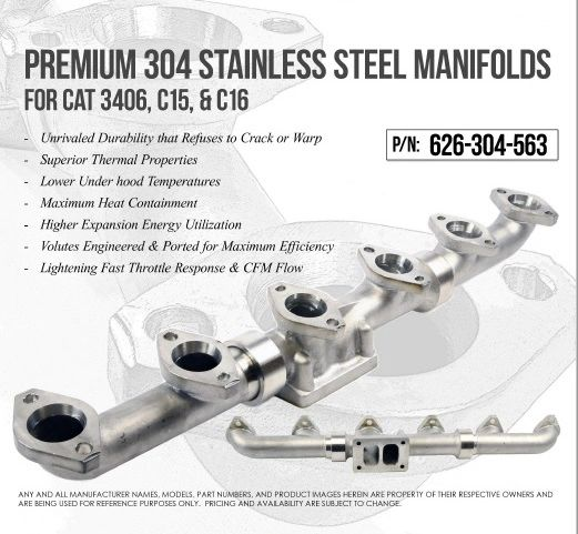 Stainless Steel Performance Exhaust Manifold for 3406E, C15, C16