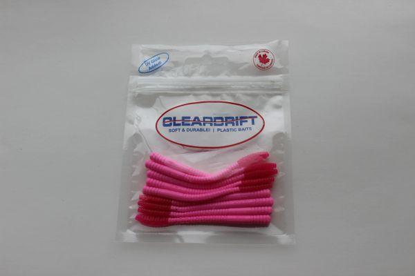 Ultra-Light Steelhead Worms: Bubble Gum/Hot Pink Tail