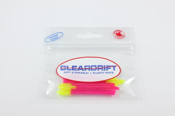 Devil Tail Trout Worms: Hot Pink/Chartreuse Tail