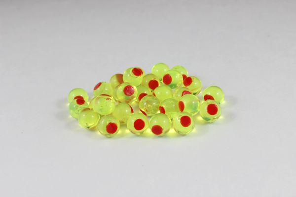 Soft Beads Embryos: Chartreuse with Red Dot