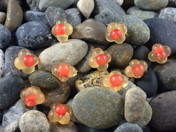 Embryo Egg Clusters: Yellow Mustard with Red Dot.