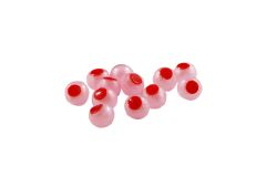 Embryo Soft Beads: Pink Pearl with Red Dot.