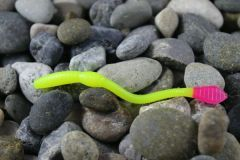 Dirty Worms: Chartreuse with Hot Pink Tail.