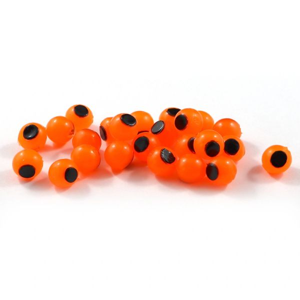 Embryo Soft Beads: Hot Orange with Black Dot.