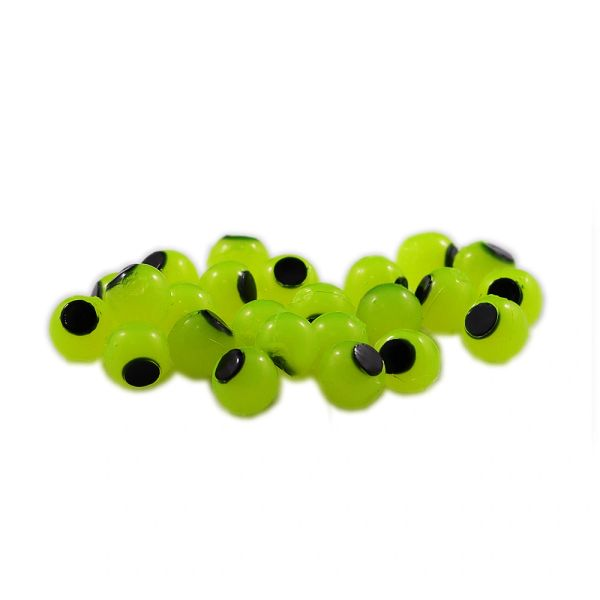 Embryo Soft Beads: Bright Chartreuse with Black Dot.