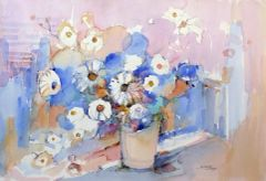"#248 Floral In Blue - 22""x15"" Watercolour on paper"