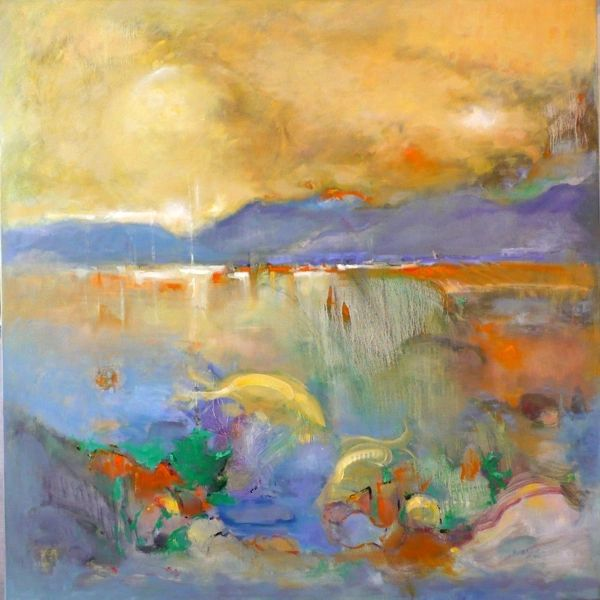 """#142 Upstream - 40""""x40"""", Oil on stretched canvas"""