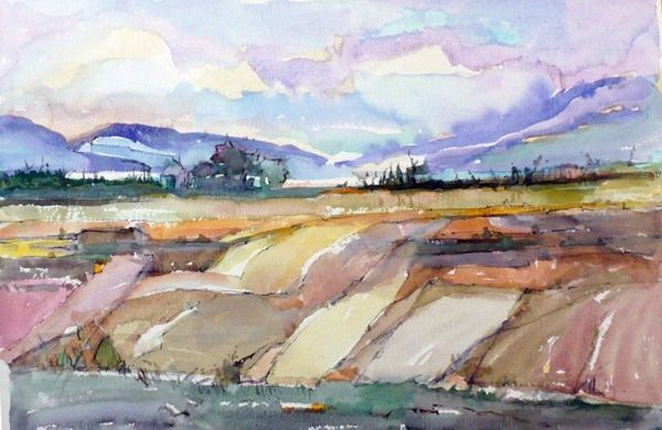 "#158 Red Deer Valley Homestead, Alberta - 20""x13"", Watercolour on paper"