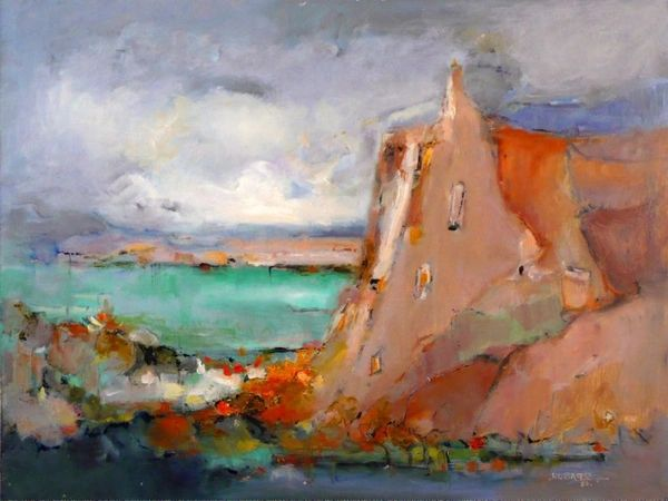 """#116 Scarborough Bluffs In Pink, Toronto - 24""""x18"""", Oil on board"""