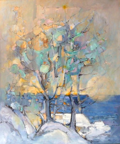 "#073 The Blue Tree - 30""x36"", Oil on board"