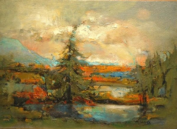 "#080 Far Away Bay, Alberta - 22""x16"", Oil on board"