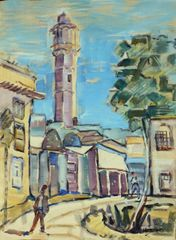"""#169 Mosque a Vieux Quartier, Syrie - 14""""x19"""", Guache on paper"""