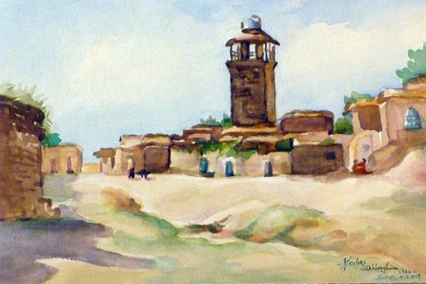 "#195 Old Village, Syria - 12""x8"", Watercolour on paper"