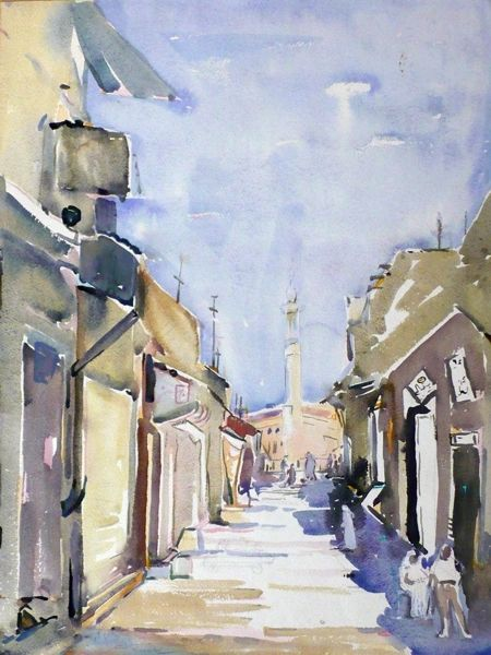 "#159 Old Town, Kuwait/63 - 15""x20"", Watercolour on paper"
