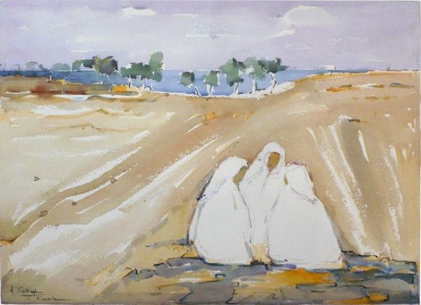 "#170 In The Field, Kuwait/63 - 22""x16"", Watercolour on paper"