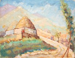 "#168 Old Village Road,Syria - 18""x14"", Oil on canvas"