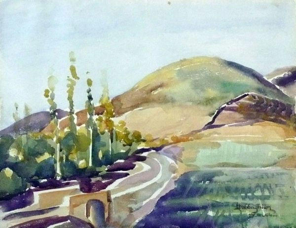 "#241 Hillside, Syria - 13""x10"", Watercolour on paper"
