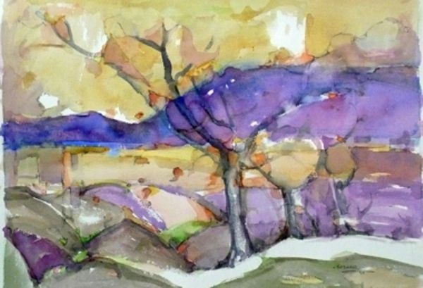 "#264 Purple Fall, Muskoka - 22""x15"", Watercolour on paper"