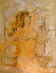 "#112 Just Nude - 18.5""x24"", Oil on board"