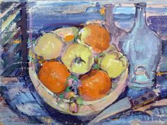 "#213.1 Fruit Bowl And Bottle - 24""x18"", Limited edition reproduction on stretched canvas, framed"