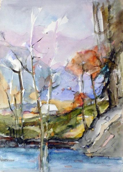 "#246 Muskoka Trees, Ontario - 15""x21"", watercolour on paper"
