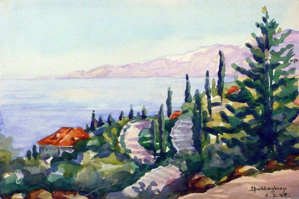 "#209 Côte, Liban - 12""x8"", Watercolour on paper"
