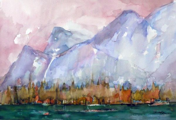 "#151 Might Be Banff, Alberta - 22""x15"", Watercolour on paper"