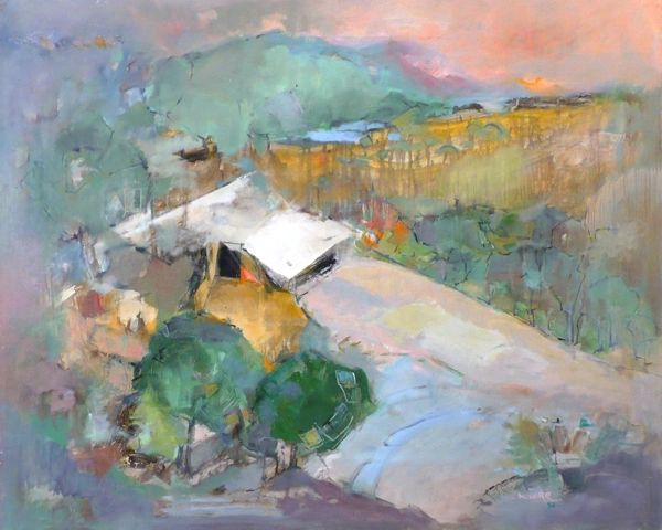 "#032 Cowshed, Grand Ole West Villa Ranch, Alberta - 30""x24"" Oil on board"