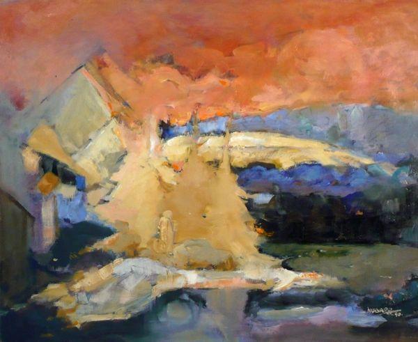 """#118 Pyramid Shore - 22""""x18"""", Acrylic on board"""