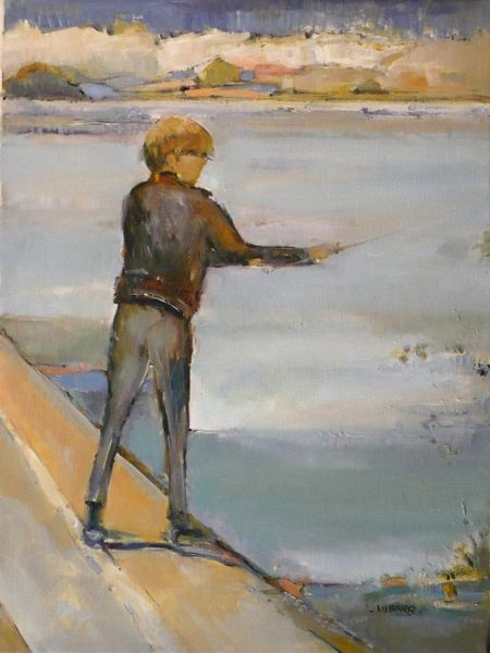 "#126 Just Fishing - 18""x24"", Acrylic on stretched canvas"